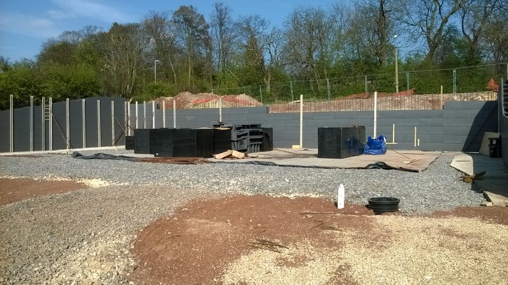 ICF wallblocks being built to form retaining walls