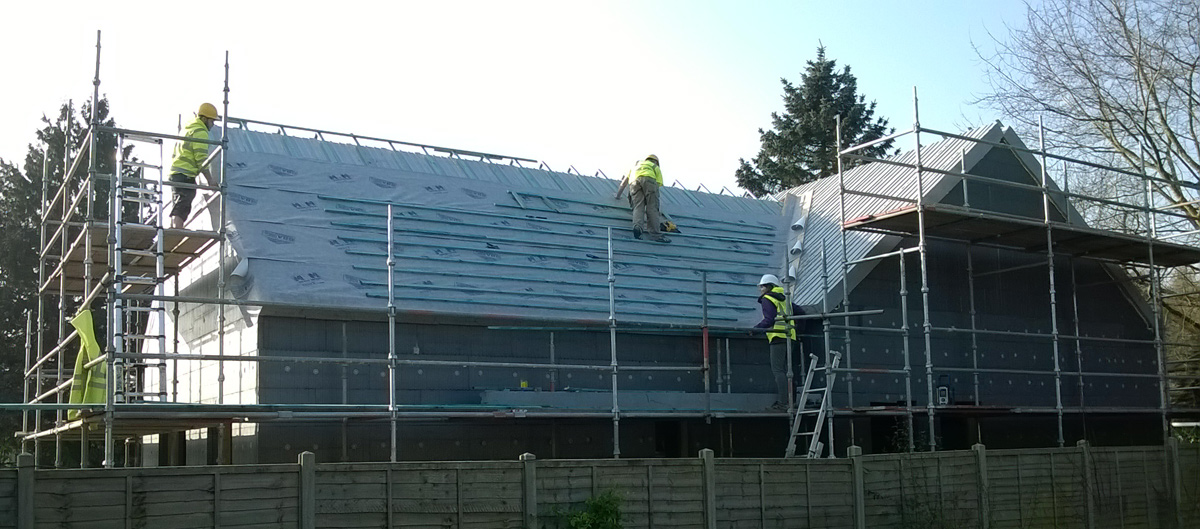 Roof structure complete at the Orchards in Tealby