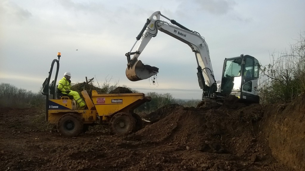 Digger and dumper working together on new self-build project